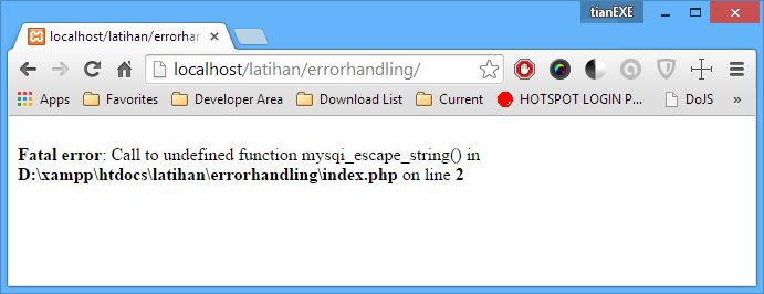 Fatal Error Call to Undefined Function