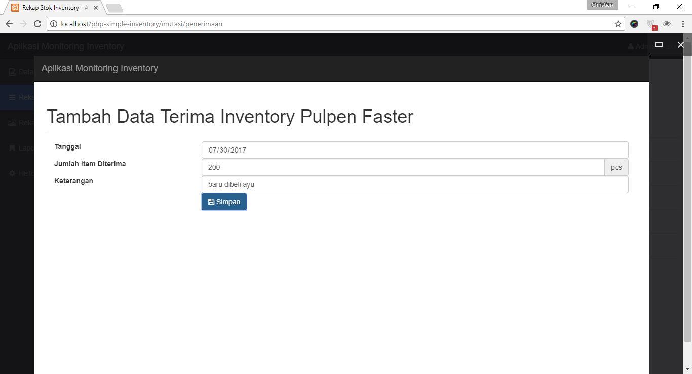 Tambah Data Penerimaan Inventory